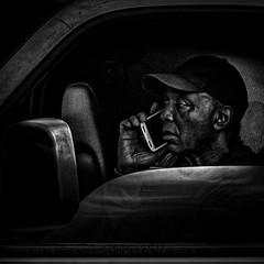 Stuck In Rush Hour Traffic With His Trusty Smart Phone, Martin Luther King Jr. Avenue, Historic Anacostia, Washington, DC.psd (Gerald L. Campbell) Tags: streetphotography street squareformat spirituality spiritualindifference socialdocumentary aloneness alienation bw blackwhite blackmale citylife community digital dc washingtondc historicanacostia martinlutherkingjravenue portrait portraitphotography urbanphotography urban canonsx60hs