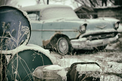 Vintage (ocDeluxe) Tags: old car automobile chevy chevrolet bokeh blur winter snow montana fast oil can hidden