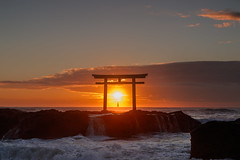 Sunrise and a ship (t.kunikuni) Tags:    jp             japan ibarakiken ibaraki oarai oaraimachi oaraiisomaejinjashrine oaraicoast ocean sea pacificocean shrine