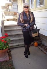 The Everyday Housewife Transformed! (Laurette Victoria) Tags: scarf sunglasses jacket pencilskirt blonde purse gloves laurette woman