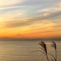 Mt Fuji view from Chojagasaki (vincentvds2) Tags: instagramapp square squareformat iphoneography uploaded:by=instagram chojagasaki sunset mountfuji mtfuji fujisan