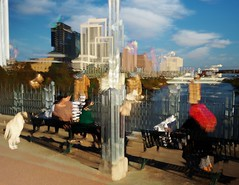 People in Motion, Enjoying the View from a Bench (Richard Denney) Tags: colors motion blur icm water lake people streetscenes lamarbridge bluesky
