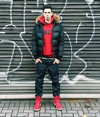 Young Male Fashion Guy in Hoodie and Downjacket (vanes_hud) Tags: model guy fashion baggy jeans gstar highfashion obey hoodie kaputze timberlands red black undercut chav chavy badboy bad boy mad pretty man böse streetwear sagging sagger