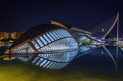 L'Hemisferic (PabloLopezPhotography.com) Tags: lhemisferic hemisferic valencia spain unique spectacular building designed designer architect santiagocalatrava calatrava santiago cityofartsandsciences city arts sciences complex great human eye wisdom symbol looking observing world visitors explore stunning audiovisual projectionsovoid roof sphere projection room night nocturnal long exposure blue dark bright contrast bridge comb harp pond structure area amazing beauty outer ring carlsagan carl sagan pablo lopez pablolopez astronomy