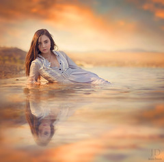Immersed ({jessica drossin}) Tags: light sunset sea portrait woman lake reflection wet water lady clouds canon hair photography one mirror warm long dress natural lace click jd perfection lavendar jessicadrossin wwwjessicadrossincom jdbeautifulworldcollection