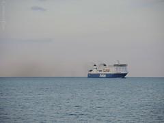 Ferry on the Ocean (ChristianeBue) Tags: blue sea water ferry germany deutschland wasser ship baltic blau lübeck ostsee schiff fähre travemünde schleswigholstein finnlines