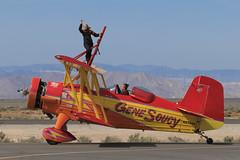 Wingwalking (Norman Graf) Tags: show california cat plane airplane airport aircraft airshow lancaster wingwalking grumman showcat wjf agcat kwjf n7699 g164 nx7699 generalwilliamjfoxairfield genesoucyandteresastokes 2015losangelescountyairshow