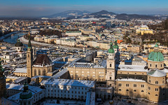 Three Churches - Austria, Salzburg (Nomadic Vision Photography) Tags: winter salzburg austria snowcapped historical oldtown universitychurch jonreid tinareid thefranciscanchurch nomadicvisioncom alzburgcathedral