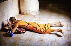 A monk studies in Luang Prabang, Laos
