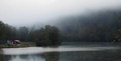 fog has fallen on the farm (photography_isn't_terrorism) Tags: railroad trestle bridge mist fog cloudy ghost spooky coal railroadbridge ghostly fairmont monongahela monongahelariver railroadtrestle fairmontwv bargeloader
