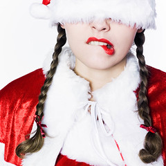funny moody santa claus woman (Franck Camhi) Tags: santa christmas xmas costumes portrait people woman white paris france face studio one costume funny background young bored headshot clothes whitebackground nervous worried santaclaus grimace claus pressure unhappy fr stressed isolated annoyed blindness blindfold displeased