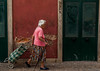 Worn out - the wall I mean!!! (swordscookie back and trying to catch up!) Tags: door wall lady bag out market path walkingstick passing algarve aging trolly striding
