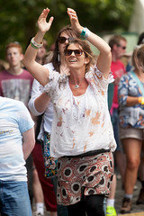 2015_CarolynWhite_Friday (86) (Larmer Tree) Tags: woman happy friday wristband clap 2015 handsintheair mainlawn carolynwhite
