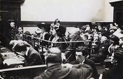 Frederick and Emmeline Pethick Lawrence, Emmeline Pankhurst and [Mabel Tuke] in court, 1912.