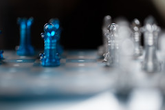 No Man's Land (Pittypomm) Tags: blue white game silver pieces space board chess clear between inbetween thespaceinbetween macromondays chesslight