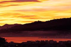 Sunset - 50 shades of orange (Nicolas Bousquet) Tags: light sunset red sea orange mer colors yellow fog rouge côtedazur romantic brouillard antibes brume couchédesoleil frenchriviera fantasticcolors romanticsunset 50shadesoforange