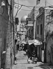 Old City Dome View (Warriorwriter) Tags: bw film monochrome analog temple israel alley palestine westbank muslim jerusalem middleeast domeoftherock christian jewish ilford israeli oldcity levant palestinian
