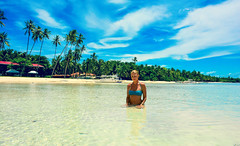 Tropical Holidays (free3yourmind) Tags: beach water girl clouds palms model holidays asia philippines exotic tropical bohol shallow vacations irina