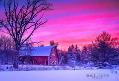 Winter Sunset (Greg Lundgren Photography) Tags: winter sunset sky snow minnesota barn rural twilight purple farming magenta zimmerman sinking greglundgren onlyinmn