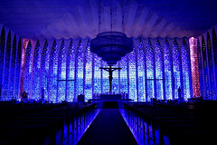 Santurio Dom Bosco - Braslia (H_Lopes) Tags: church brasil brazil igreja braslia gois arquitetura architecture arquiteto architect cores colors niemeyer oscarniemeyer oscar brasileiro projeto jesuscristo jesus cristo christ historic blue art arte light vidro vitral glass glasses