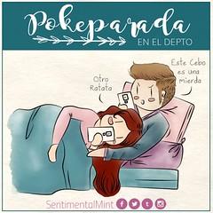 Pokeparada en el Depto (SentimentalMint) Tags: cotidianidad tu chico gamer dibujo ilustracion amor pareja cama couple love pokemon departamento pokeparada convivencia