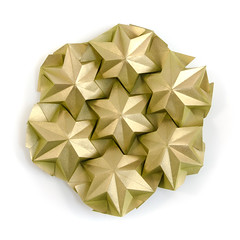 Star Puff (_Ekaterina) Tags: origami corrugation tessellation ronresch star puff paper paperfolding tant green gold