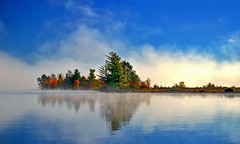 strip of seasonal colors (anj_p) Tags: barklake ontario autumn colors fall foliage lake mist morning canada southalgonquin reflection elitegalleryaoi bestcapturesaoi