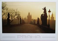CZ-882625 Veilonn (Kille.wips) Tags: postcard fog prague czech republic bridge charles karlsbrcke moldau river twilight