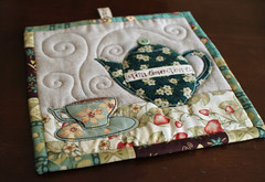 TeaTime Trivets (PatchworkPottery) Tags: tea teapot teacup mugrug trivet potholder quilted applique patchwork pattern digital patchworkpottery
