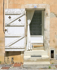 A shuttered doorway, Brue-Auriac, Var, Provence, France (Hunky Punk) Tags: shutter white cutout cut out fleurdelis steps doorway curtain dwwg