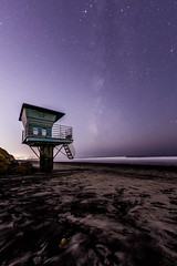 The Milky Way and Lifeguard Tower #2. Take 2. (slworking2) Tags: sandiego california unitedstates us torreypinesstatereserve torreypinesstatebeach delmar beach milkyway lifeguard tower