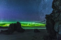 Ceannabeinne Aurora (bradders29) Tags: ceannabeinnebeach aurora scotland durness grahambradshaw stars night beach