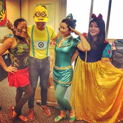 The Oddest Bunch. Cammy of Street Fighter meets a Minion, saluted by intergalactic Flight Attendant in super shiny costume, and a curtseying Snow White. #spextacularhalloween #costumeswap (Sankie Simbulan) Tags: instagramapp square squareformat iphoneography uploaded:by=instagram rise