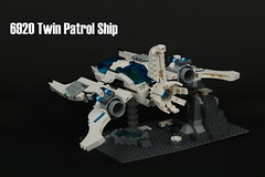 6920 Twin Patrol Ship (Harding Co.) Tags: lego space scifi spaceship future futuron classic classicspace minifigure minifigures patrol viper twin cockpit wings white black grey microscale novvember nnovvember vv vehicle landscape engines thrust fin flying 6920 trans transparent blue