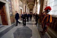 A Member of the Swiss Guard Salutes Secretary Kerry as he Departs from the Vatican (U.S. Department of State) Tags: johnkerry vatican vaticancity popefrancis