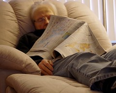 Granny always follows the news closely (SolanoSnapper) Tags: werehere hereios 6ws peoplereadingnewspaper granny grannysadventures newspaper