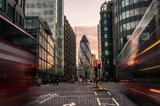St Mary Axe, Sunset, Some London busses and the Heron Tower