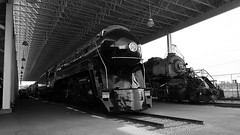 Norfolk and Western 611 On Display Black and White (844steamtrain) Tags: 844steamtrain nw norfolk and western railway railroad 611 1218 2156 484 2664 2882 class j a y6a metal machine steel black tuscan red gold big steam trains engines locomotives roanoke virginia transportation museum displays science technology history travel tourism adventure events landmark art deco photography panasonic gh4 lumix digitial video camera hdr cliche saturday y6b y6 simple expansion coal freight passenger service flickr flickrelite america color photo popular most viewed views favorite favorited outdoor