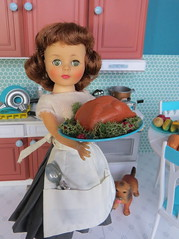 14. Successful Turkey (Foxy Belle) Tags: vintage doll thanksgiving holiday kitchen diorama 16 playscale miniature turquoise food barbie furniture scene aprons retro