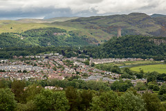 Stirling and Wallace Monument from Stirling Castle (IceNineJon) Tags: monument town village unitedkingdom scotland stirlingshire stirlingcastle abbeycraig stirling photography canon5dmarkiii europe nationalwallacemonument greatbritain 5dm3 britain uk wallacemonument esplanade