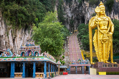 Batu Caves statue (anekphoto) Tags: malaysia caves batu landmark kuala selangor hinduism tourist lumpur hindu destination cathedral historical stone gombak natural geological sculpture earth travel pray rock statue attraction history location god spirit murugan people asia historic steps limestone place mineral famous indian diety sacred temple interior holy ancient worshippers nature cavern tunnel prayer asian shrine stairs