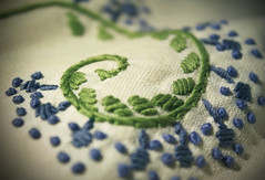 Flower stem (alutik) Tags: macromondays stitch macro texture decoration fabric design style pattern green blue canon 70d sewing thread cushion pillowcase
