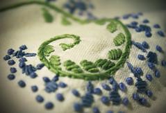 Flower stem (alutik) Tags: macromondays stitch macro texture decoration fabric design style pattern green blue canon 70d sewing thread cushion pillowcase