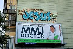 Marijuana and Jesus, San Francisco, CA (Robby Virus) Tags: sanfrancisco sf ca marijuana jesus saves john 316 graffiti tag mmj doctor clinic medical