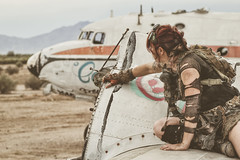 Scout (No Stone Unturned Photography) Tags: abandoned urbex fallout wastelands cosplay outfit girl airplane plane
