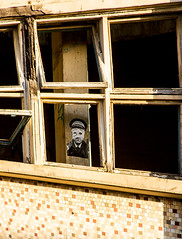face of the law in the window (PDKImages) Tags: kelham sheffield sheffieldstreetart sheffieldart abandoned broken urban lost contrasts skull yorkshire desolate windows