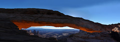 San Juan - Arch Pano (Explored, 1 dec 2016, #333) (Drriss & Marrionn) Tags: travel roadtrip landscape utah usa sanjuan outdoor sky blueskies rock skies mountain mountains canyon canyons nature mountainside canyonlandsnationalpark moab rockformation red crag cliff cliffs trail mesaarchtrail mesaarch sandstone glow sunrise lighting sunrays arch sun stone morninglight light sunlight naturallight natural panorama horizon