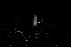 Crescent Moon Set (Bob Nastasi) Tags: moon crescentmoon coittower sanfrancisco california bobnastasi d800e 2016