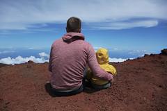 Here is the world, my son, and I love you. (t r e v y) Tags: blue red maui haleakala fatherandson edgeoftheworld