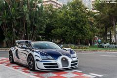 Race Mode - Vitesse #001 (Slybreton) Tags: blue white speed or montecarlo monaco carlo monte bugatti blanc 001 veyron vitesse carspotting orblanc